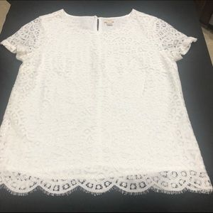 J. Crew Delicate White Lace Top Short Sleeve.